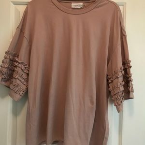 Ruffle dusty rose/mauve tee from Dallas boutique